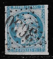 N° 45C CERES 20 C. BLEU TYPE II REPORT 3 OBLITERE COTE 70 € - 1870 Bordeaux Printing