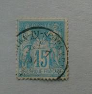 OBLITERATION DE SERRA DI SCOPAMENE SUR 15 Cts SAGE - 1876-1898 Sage (Tipo II)