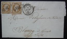 Saint-Saëns 1864 Gc 3840, Boîte Rurale B, Lettre Pour Blangy Sur Bresle, Sans Correspondance - 1849-1876: Periodo Classico