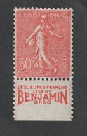 TIMBRES  - 1924 - 32   -  N°199a -   Bande Publicitaire -  50c Rouge  -  Neuf Sans Charnière - Unused Stamps