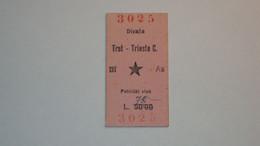 BIGLIETTO DEL TRENO FERROVIE OCCUPAZIONE PARTIGIANI TRIESTE DIVACCIA ISTRIA SLOVENIA ZONA B TRST  DIVACA 1946 RARO - Europa