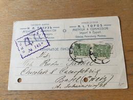 K14 Russia Russie 1917 Firmenkarte Von Odessa Mit Zensur Nach Basel - Covers & Documents