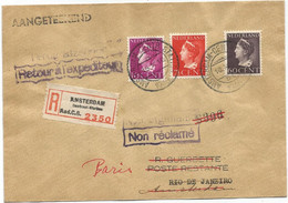 NEDERLAND 10C+7 1/2C+60C LETTRE COVER REC AMSTERDAM 1947 TO BRASIL - Brieven En Documenten