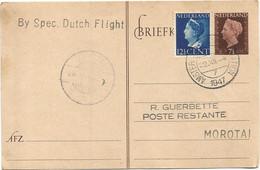 NEDERLAND ENTIER 7 1/2C BRIEF AMSTERDAM 1947 TO MOROTAI DUTCH FLIGHT - Brieven En Documenten