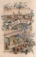 1 Carte Preisliste Moussirenden Weine Henkell & C° MAINZ - Vino
