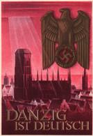 PROPAGANDE NAZI / Danzig Ist Deutsch Ent. Gottfried Klein WHW Kriegs Postkarte 6+4 Pf. - War 1939-45
