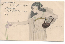 L130b187 - Joli Dessin Jeune Femme à La Lyre - M.M.VIENNE -  Précurseur - Frauen