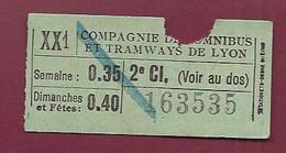 030121D - TICKET CHEMIN DE FER - Compagnie Des Omnibus Tramways De LYON 2e Cl 163535 0.35 0.40 XX1 - Europe