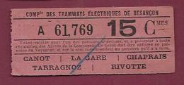 030121D - TICKET CHEMIN DE FER TRAM - COMPie Tramways électriques BESANCON A 61769 15 Cmes Canot La Gare Chaprais - Europe