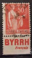 France N° 283 Paix Type III. Oblit. 50c Rouge. Timbre De Carnet. Bande Publicitaire Publicité Pub. - Publicidad