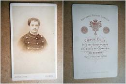 PHOTO CDV 19 EME MILITAIRE SOLDAT CAVALIER    Cabinet COUE A SAUMUR - War, Military