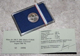 Pièce Argent 100F Marie Curie 1984 - Non Classificati