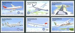 Maldives 1994 OACI ICAO 50 Ans Years Boeing 747, De Havilland Comet, Lockheed Starliner, Airbus A-300,  Dornier Do-228 - Avions