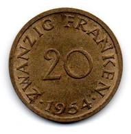 Sarre -  20 Francs 1954 - SPL - Sarre
