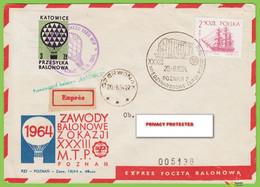 Voyo POLAND 1964 Balloon Mail KATOWICE  Poznań-Czerwonak Cat#39c - Ballonpost