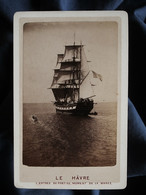 Photo CDV  Le Havre  Beau Voilier  Entrée Du Port Au Moment De La Marée  CA 1880 - L530A - Oud (voor 1900)