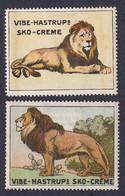 Denmark Poster Stamps Vignette Reklamemarke  VIBE HASTRUP SHOE POLISH LION LÖWE - Erinnophilie