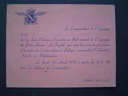 CARTE INVITATION Ancienne 1959 : MARINE / BAL EQUIPAGE PORTE AVIONS LA FAYETTE - Documents