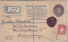 Irland - 5 Pg. Ganzsache + Zusatz Einschreibebrief Dublin - Wiesbaden 1925 - Postal Stationery