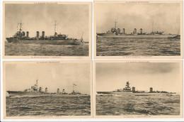 Lot 4 Cartes LA MARINE FRANCAISE Bateau De Guerre Contre Torpilleur Aigle Cassard Gerfaut Croiseur émile Bertin - Krieg