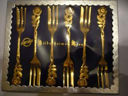 6 Kuchengabeln - Hildesheimer Rosen - Vergoldet - In Org. Karton (868a) - Forks