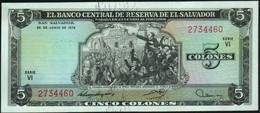 ♛ EL SALVADOR - 5 Colones 24.06.1976 UNC P.117 - El Salvador