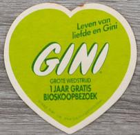 Sous-bock GINI Grote Wedstrijd 1 Jaar Gratis Bioscoopbezoek (coeur) Bierdeckel Bierviltje Coaster (V) - Portavasos