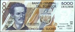 ♛ ECUADOR - 5.000 Sucres 31.10.1996 {Serie AM} UNC P.128 B - Ecuador
