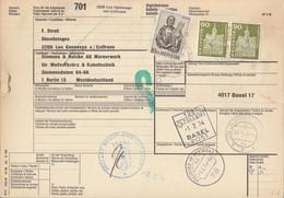 SCHWEIZ Paketkarte Mit 709, 740 MiF, Les Geneveys-sur-Coffrane Nach Berlin, Versch. Zollamtsstempel 1974 - Brieven En Documenten