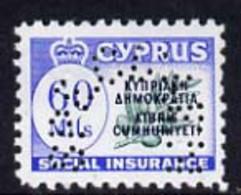Cyprus 1960 Social Insurance 60m Perf'd SPECIMEN, U/M Ex BW Archives - Otros