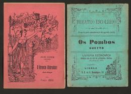 Conjunto De 2 Folhetos TEATRO De CORDEL Theatro Escolhido + BIBLIOTHECA DRAMATICA  Portugal 1900s - Programs