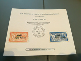 Carte 1er Salon International Aviation, Navigation De 1927 Marseille Avec FAUX PA N° 1 & 2** - Cartas
