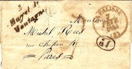 1847- Lettre Cursive 3 / Mayet De / Montagne ( Allier ) + Cad T13 De LA PALISSE  Taxe 7 D Pour Paris - 1801-1848: Precursors XIX