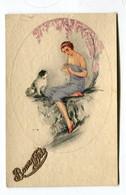 CPA  Illustrateur :Femme Et Chien   Bonne Année   VOIR DESCRIPTIF  §§§ - Andere Illustrators