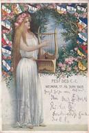 Fest Des CC Weimar Juni 1903 German Harp Flags Painting Postcard - Zonder Classificatie