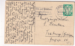 DANZIG  1938 CARTE POSTALE POUR FREIBURG - Danzig