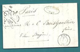 PAS DE CALAIS - VIMY - CàD Type 15 + Taxe Tampon 25. 1850 - 1849-1876: Classic Period
