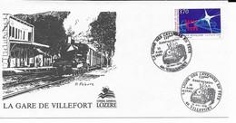 ENVELOPPE  48 VILLEFORT - 125 Anniversaire Ligne Des Cevennes 1995- LA GARE DE VILLEFORT - Villefort