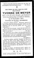 DE MEYER Yvonne ° 12 Januari 1912 Sint-Joris Winge + 30 September 1927  Schilde Doodsprentje Image Mortuaire - Religion & Esotericism