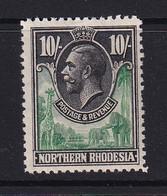 Northern Rhodesia: 1925/29   KGV     SG16     10/-   MH - Rhodesia Del Nord (...-1963)