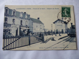LANGRUNE-sur-MER (14) : CHEMIN De FER De CAEN à La MER - Voie Normale Et Voie De 60  Avec 3 Rails  - Circulé En1908 - Bahnhöfe Mit Zügen