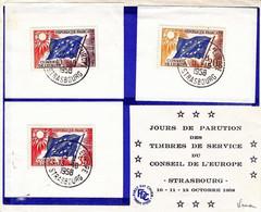 France FDC YT  Service 17/19 Conseil De L'Europe Oblit 1er Jour Strasbourg 10-11-13/10/58 - 1950-1959