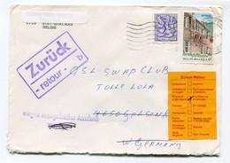 1981 Enveloppe Naar Duitsland - Retour Naar Belgie - RTS - Return To Sender - Zuruck - Stempels Gelsenkirchen + Sticker - Cartas