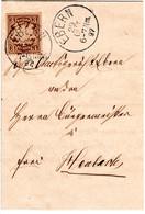 Bayern 1897, EF 3 Pf. Auf Brief V. EBERN N. Heubach M. Rücks. Gemeinde Siegel - Bayern