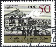 German Democratic Republic 1989 - Mi 3240 - YT 2845 ( Train And Leipzig Station ) - Used Stamps