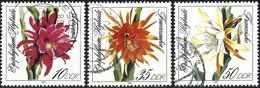 German Democratic Republic 1989 - Mi 3276/78 - YT 2881/83 ( Flowers - Cactus ) Complete Set - Used Stamps