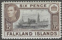 Falkland Islands. 1938-50 KGVI. 6d Black And Brown MH. SG 155a - Islas Malvinas