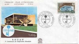 Premier Jour N° 1554 V Conférence De Coopération Mondiale 13/04/1968 Royan édition Coq - 1960-1969