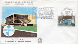 Premier Jour N° 1554 V Conférence De Coopération Mondiale 13/04/1968 Flamme Royan édition Coq - 1960-1969