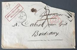 Guyane, Enveloppe 1.2.1874 De Cayenne, AFFRANCHISSEMENT INSUFFISANT Pour Bordeaux - (C1755) - Storia Postale